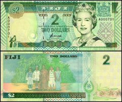 Fiji 2 Dollars Banknote, 1996, P-96a, UNC