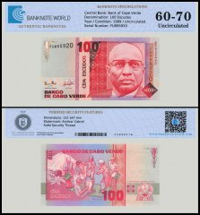 Cape Verde 100 Escudos Banknote, 1989, P-57, UNC, TAP 60-70 Authenticated