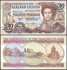 Falkland Islands 20 Pounds Banknote, 2011, P-20, UNC
