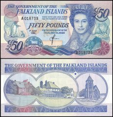Falkland Islands 50 Pounds Banknote, 1990, P-16a, UNC
