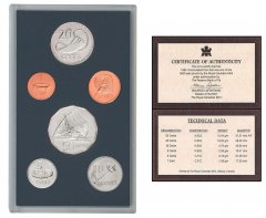 Fiji 1 Cent - 50 Cents 6 Pieces Coin Set, 1992, KM #49a-54a, In Acrylic Holder w/COA, Mint