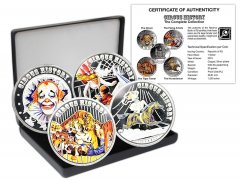 Fiji 1 Copper Silver Plated Proof Like, 4 Piece Coin Set, 2013, Mint, Circus History