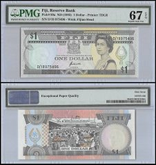 Fiji 1 Dollar, ND 1993, P-89a, Fijian Head, Queen Elizabeth II, PMG 67