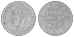 Fiji 1 Florin 11.3 g Silver Coin, 1941, KM #13, XF - Extremely Fine