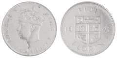 Fiji 1 Florin 11.3 g Silver Coin, 1942, KM #13a, XF - Extremely Fine