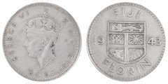 Fiji 1 Florin 11.3 g Silver Coin, 1943, KM #13a, XF - Extremely Fine