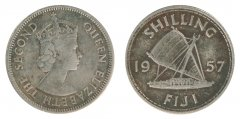 Fiji 1 Shilling 5.6 g Copper Nickel Coin, 1957, KM #23, F - Fine