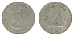 Fiji 1 Shilling 5.6 g Copper Nickel Coin, 1957, KM #23, VF - Very Fine