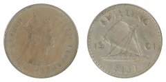 Fiji 1 Shilling 5.6 g Copper Nickel Coin, 1961, KM #23, F - Fine