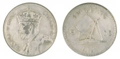 Fiji 1 Shilling 5.6 g Silver Coin, 1935, KM #4, XF - Extremely Fine