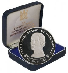 Fiji 10 Dollars 30g Silver Proof Coin, 1980, KM # 46, Mint, 10th Independence Anniversary