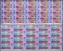 Fiji 10 Dollars Banknote, 2013, P-116a, 20 Pieces Uncut Sheet, UNC
