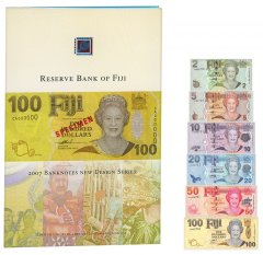 Fiji 2 - 100 Dollars 6 Pieces Set, 2007, P-109-117, Matching Serial #, UNC