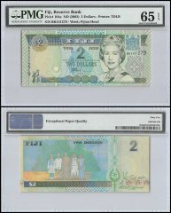 Fiji $2 Dollars, ND 2002, P-104a, Queen Elizabeth II , PMG 65