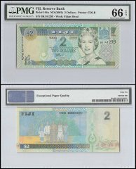 Fiji $2 Dollars, ND 2002, P-104a, Queen Elizabeth II, PMG 66