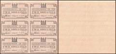 Fiji 2 Shillings, 1942, P-50r2, 6 Pieces Uncut Sheet, Without Serial #, UNC