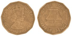 Fiji 3 Pence 6.2 g Nickel Brass Coin, 1955, KM #22, Queen Elizabeth II, VF - Very Fine