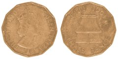 Fiji 3 Pence 6.2 g Nickel Brass Coin, 1958, KM #22, F - Fine