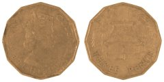 Fiji 3 Pence 6.2 g Nickel Brass Coin, 1963, KM #22, F - Fine