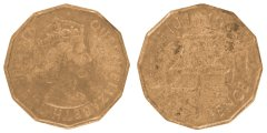 Fiji 3 Pence 6.2 g Nickel Brass Coin, 1964, KM #22, F - Fine