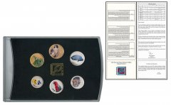 Fiji 5 Cents - 50 Cents 6 Pieces Colored Coin Set, 2012, In Acrylic Holder w/COA, Mint