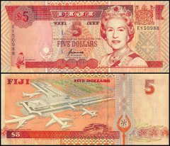 Fiji 5 Dollars Banknote, 1996, P-97a, UNC, Queen Elizabeth II - QEII, Nadi International Airport
