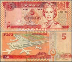 Fiji 5 Dollars Banknote, 1996, P-97a, UNC, Replacement, Queen Elizabeth II - QEII, Airport
