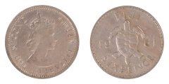 Fiji 6 Pence 2.82 g Silver Coin, 1961, KM #19,  XF - Extremely Fine