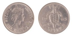 Fiji 6 Pence 2.82 g Silver Coin, 1965, KM #19,  XF - Extremely Fine