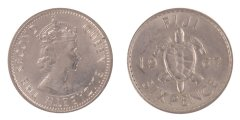 Fiji 6 Pence 2.83 g Silver Coin, 1967, KM #19,  XF - Extremely Fine