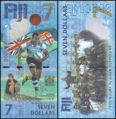 Fiji 7 Dollars Banknote, 2016, P-NEW, UNC, SPECIMEN, Rugby 7s Gold Olympians Sum Banknote,mer Brazil Olympics