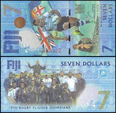 Fiji 7 Dollars Banknote, 2017, P-120, UNC, Rugby 7s Gold Olympians Sum Banknote,mer Olympics Brazil