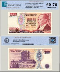 Turkey 20,000 Lira Banknote, L.1970 - 1995, P-202, UNC, TAP 60 - 70 Authenticated