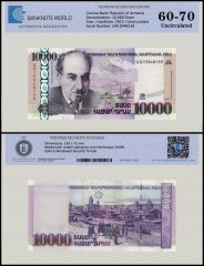 Armenia 10,000 Dram Banknote, 2012, P-57, UNC, TAP 60 - 70 Authenticated