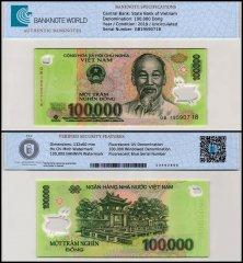 Vietnam 100,000 Dong Banknote, 2019, P-122p, UNC, TAP Authenticated