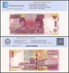Indonesia 100,000 Rupiah Banknote, 2014, P-153A, UNC, TAP Authenticated