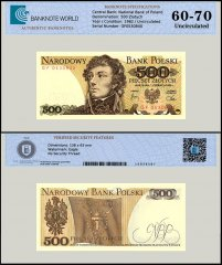 Poland 500 Zlotych Banknote, 1982, P-145d, UNC, TAP 60 - 70 Authenticated