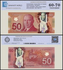 Canada 50 Dollar Banknote, 2012, P-109b, UNC, TAP 60 - 70 Authenticated