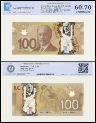 Canada 100 Dollars Banknote, 2011, P-110c, UNC, TAP 60 - 70 Authenticated