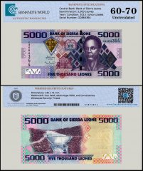 Sierra Leone 5,000 Leones Banknote, 2013, P-32b, UNC, TAP 60 - 70 Authenticated