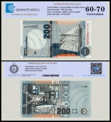 Cape Verde 200 Escudos Banknote, 2005, P-68, UNC, TAP 60-70 Authenticated