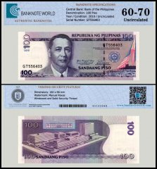 Philippines 100 Piso Banknote, 2010, P-194b, UNC, TAP Authenticated