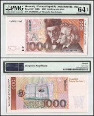 Germany 1,000 Deutsche Mark, 1993, P-44b, Replacement, PMG 64