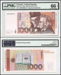 Germany 1,000 Deutsche Mark, 1993, P-44b, Serial #, PMG 66