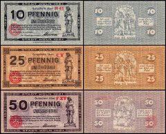 Germany 10 - 50 Notgeld Pfennig 3 Piece Set, 1920-1921, UNC