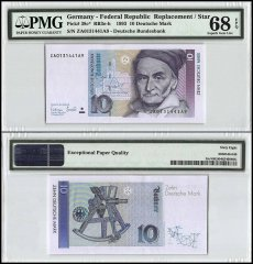 Germany 10 Deutsche Mark, 1993, P-38c, Replacement/Star, PMG 68