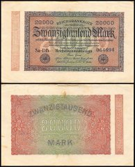 Germany 20,000 Mark Banknote, 1923, P-85, Used