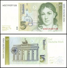 Germany 5 Deutsche Mark Banknote, 1991, P-37, UNC