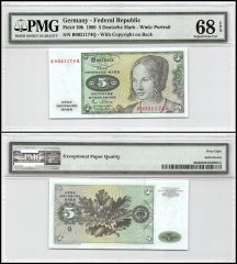 Germany 5 Deutsche Mark, 1980, P-30b, PMG 68