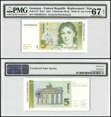 Germany 5 Deutsche Mark, 1991, P-37, Replacement/Star, PMG 67